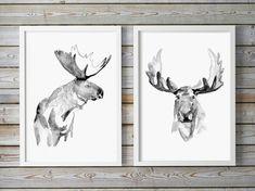 Orignal peinture-aquarelle-illustration giclée 2-Moose Elk-noir gris blanc affiche aquarelle Moose art encre semi e