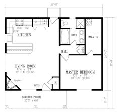 One bedroom house design simple 1 bedroom house plans cottage country farmhouse design feet minimalist modern . Four Bedroom House Plans, One Bedroom House, Cottage Floor Plans, Small House Floor Plans, Cabin Floor Plans, Cottage Plan, Cottage House, Master Bedroom, The Plan