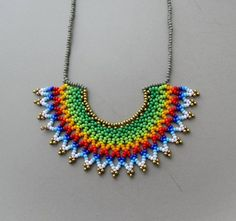 Items similar to Beaded Green Rainbow Mexican HALF MOON Necklace handmade by Luciana Lavin on Etsy Half Moon Necklace, Diy Necklace, Handmade Beaded Jewelry, Handmade Necklaces, Brick Stitch Earrings, Diy Jewelry Projects, Peyote Beading, Pony Beads, Bracelet Patterns