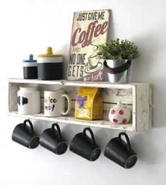 Top 23 Cool DIY Kitchen Pallets Ideas You Should. Coffee Mug Display, Coffee Mug Holder, Diy Coffee Shelf, Coffee Mugs, Diy Kitchen Decor, Diy Home Decor, Home Decor Store, Coffee Bar Home, Home Decor Ideas