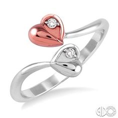 Fun Twin Hearts Diamond Ring in 14K White and Pink Gold