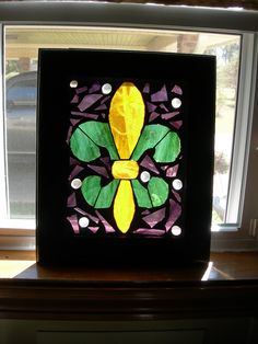 Fleur De Lis Stained Glass Mosaic Mardi Gras Colors