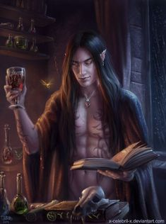 m High Elf Wizard Robes Magic Book Necklace Potions male urban City Tower Rainy Night by x-Celebril-x DeviantArt lg Fantasy Heroes, Fantasy Rpg, Medieval Fantasy, Dark Fantasy Art, Fantasy Artwork, Fantasy Character Design, Character Inspiration, Character Art, Dnd Characters
