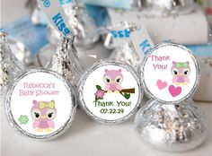 Personalized OWL - Baby Girl, Pink Hershey Kissed Baby Shower labels, stickers. $7.50, via Etsy.
