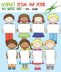 """$4 School Kids Clipart - """"My Work"""" - Graphics From the PondThese cute little school kids are ready to show off their school work!This is a set of 14 png individual files to use in your latest teaching resource files. All files are 300 dpi (for clear, crisp printing!).Each of the designs is included in color and line art."""