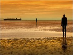Antony Gormley 'Another Place'. Crosby Beach, Merseyside, England