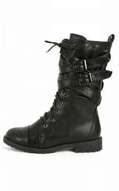MixUp Lace Up Strappy Combat Boots BLACK