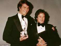 Reeve and Williams pose backstage at the People's Choice Awards in March 1979 as they both started to enjoy success with Superman and Mork and Mindy respectively
