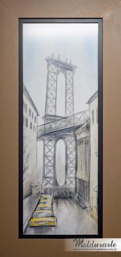 """Quadro """"Prédios e Ponte"""" (gravura). Formato: 38 x 83 cm. Cód. 9776-6. contato@moldurartegaleria.com.br — em Moldurarte Galeria."""