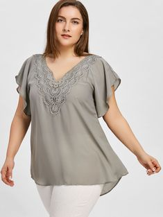 b65a100a846d3 Up to 60% off. Free shipping worldwide.Plus Size Crochet High Low Blouse.  Cheap BlousesBlouses For WomenShirt ...