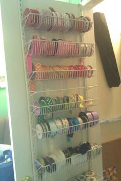 Scraproom: ribbon storage if I had closet doors Sewing Room Storage, Craft Room Storage, Sewing Rooms, Craft Ribbon Storage, Paper Storage, Craft Rooms, Closet Storage, Scrapbook Storage, Scrapbook Organization