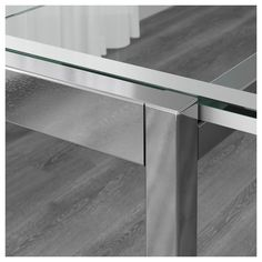 GLIVARP Extendable table - transparent, chrome-plated - IKEA Extendable Glass Dining Table, Dinning Table, A Table, Ikea, Table Height, Window Cleaner, Affordable Furniture, Glass Table, Tabletop