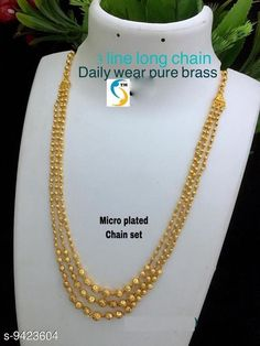 Necklaces & Chains WOMEN 'S MICRO GOLD PLATED 3 LAYERD CHAIN Base Metal: Brass Plating: Gold Plated Stone Type: Agate Sizing: Long Type: Layered Multipack: 1 Sizes: Country of Origin: India Sizes Available: Free Size   Catalog Rating: ★4.1 (5848)  Catalog Name: Sizzling Graceful Women Necklaces & Chains CatalogID_1654742 C77-SC1092 Code: 891-9423604-924