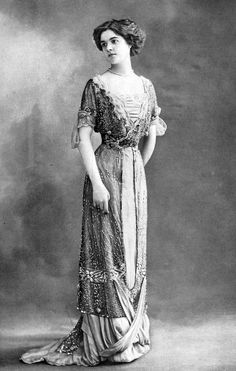 Beaded evening or dinner gown with lace trim, 'La Mode' magazine, French, 1910.