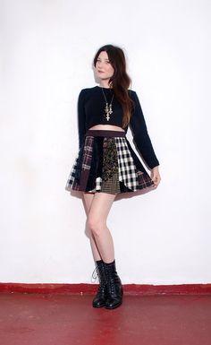 PLAID MINI SKIRT // one size // 90s grunge, velvet and plaid flannel fabric, patchwork skirt, skater skirt, black velvet, floral print via Etsy