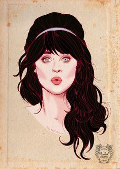 ZOOEY DESCHANEL Portrait Poster - New Girl - Fashion Illustration - Kiss -  Retro Pencil Drawing - Blue Headband