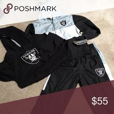 Raiders gear bundle Brand new with tags (wind breaker suit) hoodie is just like new. Other