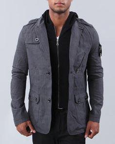 Something cool for the fashionable man, a detachable hoodie blazer.
