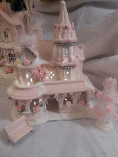 shabby pink victorian christmas village house chic roses glitter