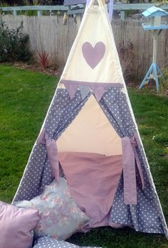 Childrens Teepee, Grey and Pink Spots by LillianaDesignsUK on Etsy