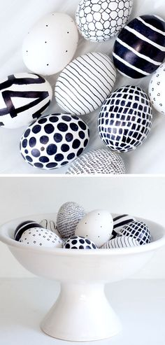 Black and White | Click Pic for 20 DIY Easter Egg Decorating Ideas for Kids | Easy Easter Egg Crafts for Toddlers
