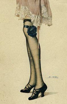 Art,Dress,Fashion,Garters,Girl,Great war,High heels,Pin up,Legs,Vintage,
