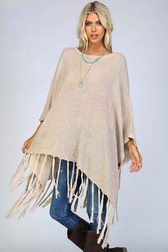Josephine Tassel Sweater Poncho