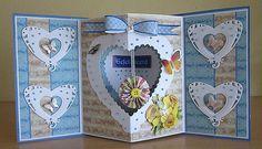 Fancy Fold Cards, Folded Cards, Tarjetas Pop Up, Paper Art, Paper Crafts, Paper Butterflies, Origami, Heart Cards, Pop Up Cards