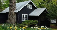 Stephen Orr's lake cabin features low-maintenance plants that fend for themselves; the front lawn is planted with hundreds of deer-proof spring bulbs Black House Exterior, Exterior House Colors, Exterior Paint, Lake Cabins, Cabins And Cottages, Dark House, My House, Style At Home, Cabin In The Woods