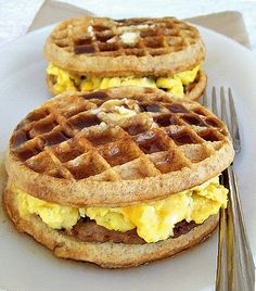 breakfast griddle sandwiches with scrambled egg and wheat waffles.