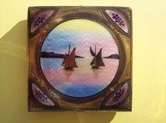 Rare Gorgeous Scenic DF BRIGGS Enamel Guilloche Powder Compact Lavendar Antique