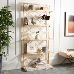 4 Shelf Bookcase, Etagere Bookcase, Metal Shelves, Glass Shelves, Bookshelves, Gold Bookshelf, Bedroom Shelves, Modern Bookcase, Shelving