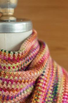 Crocheted 'Linen Stitch' Scarf free pattern at Churchmouse Yarns. The sample is…