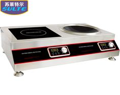 SL50-MPA1  5000W Wok and Flat 2-burner Induction Cooktop with Magnetic Switched Off  8 built-in hi-speed exhaust fan keep lamp black away from the induction range to insure the durability of the components. Industrial-grade circuit board design 2-burner induction cooktop (for wok & pan) is perfectly meet the demand of the cooking need.