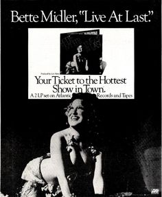 Bette Midler - Live At Last; b&w