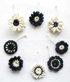 Blue & White Crochet Flowers