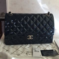 handbag brand new chanel jumbo bag in navy blue patent leather 100 authentic