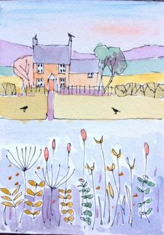 Watercolour 'Little Red House' signed Annabel Burton