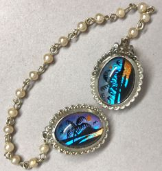 Jeweled #SweaterClip #ButterflyWing Palm Beach Ocean Pearl Silver Tone Chain Vtg Unbranded