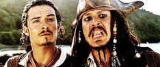 Will Turner and Jack Sparrow making the most beautiful faces~