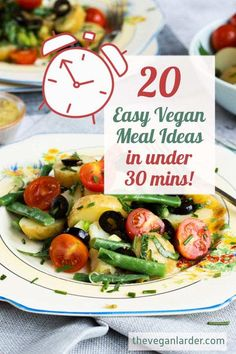 20 Super easy vegan meal ideas that can take less than 30 minutes to prepare. Have these yummy recipes on standby for when hunger strikes! #vegan recipe #vegetarian recipe #vegan dinner #vegan recipe idea #easy vegan dinner #quick vegan dinner Quick Easy Vegan, Quick Vegan Meals, Vegetarian Recipes Dinner, Vegan Recipes Easy, Yummy Recipes, Pasta With Herbs, Vegan Chicken Salad, Vegan Burrito Bowls, Gourmet Salad
