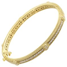 Judith Ripka Diamond Yellow Gold Heart Bangle | From a unique collection of vintage bangles at https://www.1stdibs.com/jewelry/bracelets/bangles/