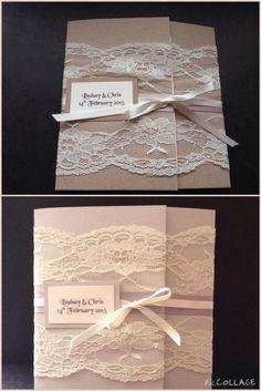 50 Handmade Vintage Lace Ribbon Rustic Shabby Chic Wedding Invitations Evening