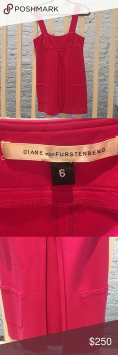 Diane von Furstenberg hot pink dress with pockets DVF never worn hot pink mini dress with front pockets Diane von Furstenberg Dresses Mini