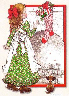 Bota de navidad, con borde rojo - Sarah Kay Cute Sketches, Cute Drawings, Mary May, Sarah Key, Vintage Drawing, Holly Hobbie, Writing Paper, Vintage Christmas Cards, A Christmas Story