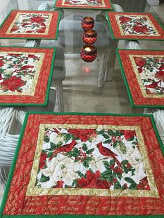 Christmas Placemats Quilted Placemats Cardinals Placemats 17 by 13 Christmas Placemats, Christmas Runner, Christmas Sewing, Christmas Projects, Christmas Decorations, Christmas Quilting, Patchwork Table Runner, Table Runner And Placemats, Table Runner Pattern