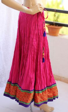 Cotton Skirt, long, Maxi cotton pleated circle pink summer cotton Indian skirt with handmade side hanging and broad silk brocade border