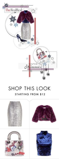 """Holiday Sparkle With The RealReal: Contest Entry"" by alyssastar ❤ liked on Polyvore featuring Hervé Léger, Carolina Herrera, Christian Dior and Narciso Rodriguez"