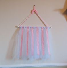 Display Hair Bow Holder | SALE-- Hair Clip and Bow Holder with Pink Ribbon and White Tulle ...