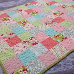 Ruby Baby Girl Quilt by FortheLoveDesigns